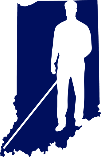Logo graphic: A person in silhouette with white cane steps through the shape of the state of Indiana.